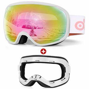 Odoland Kit de Lunettes de Ski Snowboard avec éponge Amovible, Masque de Neige Hommes et Femmes, Anti-UV400, Anti-Buée, Coupe-Vent, Lunettes de Protection, compatibles avec Un Casque