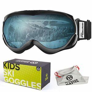 OutdoorMaster Masque de Ski pour Enfants Lunettes Compatibles avec Un Casque pour Garçons et Filles avec Une Protection UV à 100% (Black Frame + VLT 60% Light Blue Lens)