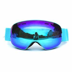 QAZEDC Hommes Femmes Lunettes De Ski Lunettes De Snowboard pour Le Ski Protection Uv400 Lunettes De Ski sur Neige Lunettes Anti-Buée Masque De Ski Bleu