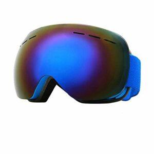 QAZEDC Lunettes De Ski Coupe-Vent Respirant Lunettes De Ski Hiver Anti-Buée HD Lunettes De Ski Extérieur Protection UV Snowboard Snowmobile Lunettes Masque Bleu