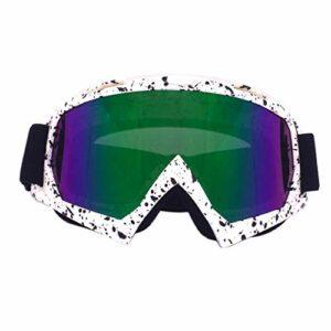 QAZEDC Lunettes De Ski Lunettes De Ski Cool Lunettes De Ski Coupe-Vent Protection Oculaire Moteur Cyclisme TPU Pc Lunettes De Grande Taille avec Tapis en Éponge Changable L/XL Bwn