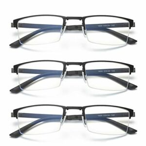 Reading Glasses Lunettes de Lecture Anti-Bleu Pliables, Lunettes de Lecture Professionnelles pour Hommes légères, Portables et Confortables à Porter, 3 pièces, étui à Lunettes Compris