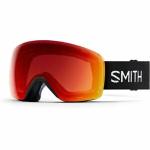 SMITH Skyline Masque de Ski Mixte Adulte, Black 19/Chroma Pop Photochromic Red Mirror, FR : M (Taille Fabricant : M)