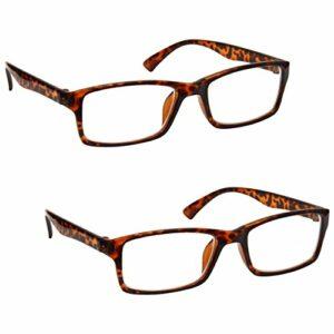 The Reading Glasses Lunettes de Lecture Marron Écaille Lecteurs Valeur Set de 2 Designer Style Hommes Femmes RR92-2 +1,50
