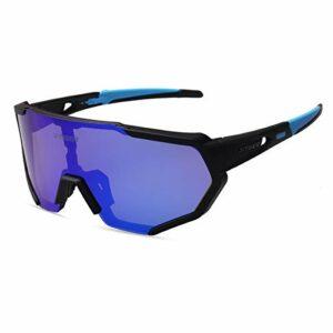 X-TIGER Lunettes de Cyclisme Lunettes de Sport Soleil Polarisées Tr90 Cadre Super Léger avec 3 ou 5 Verres Interchangeables Protection UV400 pour Hommes et Femmes pour Running VTT Vélo Moto Alpinisme