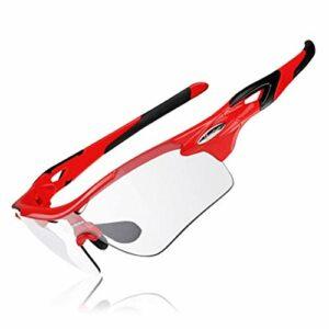 ZDAMN Lunettes de Cyclisme Extérieur Protection UV Cyclisme Lunettes de Soleil vélo Lunettes for Hommes Femmes Lunettes de Cyclisme Unisexes (Couleur : Red, Size : One Size)