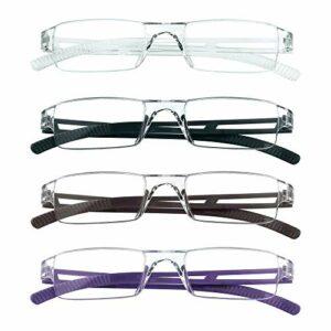 4 paires de lunettes de lecture, lunettes de blocage de lumière bleue, lunettes de lecture d'ordinateur pour femmes et hommes, monture de lunettes de mode rectangulaire (4 couleurs, 4.00)
