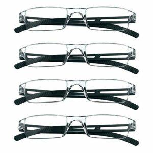 4 paires de lunettes de lecture, lunettes de blocage de lumière bleue, lunettes de lecture d'ordinateur pour femmes et hommes, monture de lunettes de mode rectangulaire (4 Noir, 4.00)