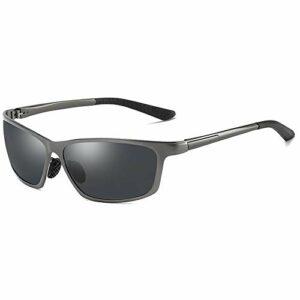 Bradoner Lunettes de soleil de cyclisme en aluminium magnésium et métal pour vision nocturne Noir/bleu