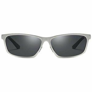 Bradoner Lunettes de soleil de cyclisme en aluminium magnésium et métal pour vision nocturne Noir/jaune Monture argentée