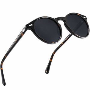 Carfia Lunettes de Soleil Femme Polarisées Mode Rétro Vintage la Protection UV 400 pour Conduire Voyager (T/monture: écaille, verres: gris2)