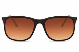 Cheapass Lunettes de soleil Sunglasses Fortes Sportives Stylées en Métal Branches en Cuivre Monture Marron et Verres Marron Dégradés Protection UV de 100% Hommes