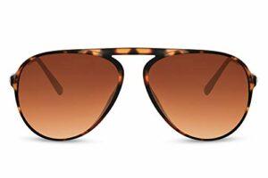 Cheapass Lunettes de soleil Sunglasses Haut Plat Seul Pont Pilote Style Unique de Léopard avec Verres Marron Dégradés Protection UV400 Hommes