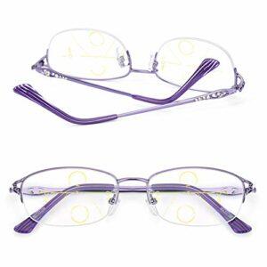 CYY Lunettes de Lecture Multifocales Progressives Demi-Trame Anti Lumière Bleue,Lecteurs pour Femmes avec Lens Transparentes,pour Ordinateur et Travail(1.5, 2.5, 3.5)