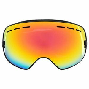 DAUERHAFT Lunettes de Protection Anti-buée Confortables pour Le Ski(Black Frame + Full Vacuum Red Plating)
