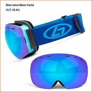 DFVX Lunettes de Ski Doubles Couches UV400 Anti-buée Grand Masque de Ski Lunettes Lunettes de Ski de Neige Hommes Femmes Lunettes de Snowboard Sports de Plein air