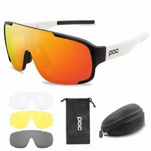DFVX POC TR90 Lot de 4 lunettes de soleil polarisées pour vélo VTT Unisexe