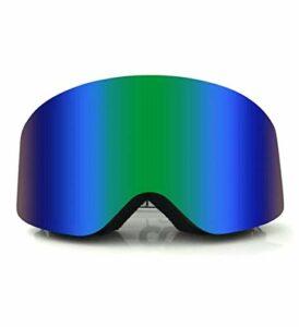DLSM Masque de ski double anti-buée pour adulte – Verres cylindriques – Grand cadre bleu foncé