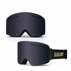 DLSM Masque de ski pour adulte – Cylindrique magnétique – Hommes et femmes – Coupe-vent et anti-buée – Cadre noir + pièce grise