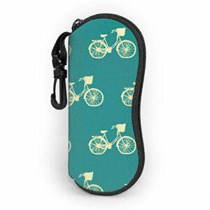 Étui souple pour lunettes de soleil Pochette de protection portable ultra légère avec clip de ceinture, motif d'art de vélo de vélo bleu sarcelle