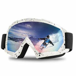 Femmes Hommes Lunettes De Ski Double Couches Lunettes De Snowboard UV Hiver Coupe-Vent Anti-Brouillard Protection Ski Masque Lunettes Lunettes S Blanc