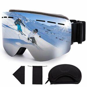 FREE SOLDIER Masque de Ski OTG Lunettes de Ski Anti-buée d'hiver Lunettes de Snowboard en Plein Air avec Lentille Cylindrique pour Hommes, Femmes et Jeunes (Argent 18.59% VLT)