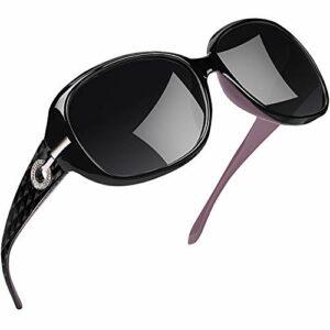 Joopin Lunette de Soleil Femme Polarisée – Lunettes Surdimensionnées UV400 à la Mode et Violet Lunette de Soleil Classique Grand Cadre