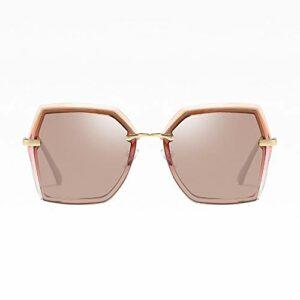 Kaper Go Lunettes de soleil polarisées tendance pour femme Bordure polygonale Protection UV400 Bordure dorée Verres marron