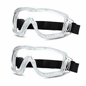 Lot de 2 lunettes de sécurité pour enfants – Verres résistants aux chocs – Anti-buée – Réglables – Pour garçons et filles de 5 à 12 ans – Blanches