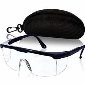 Lunettes de protection pour les yeux avec verres transparents et boîte de protection, noir
