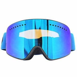 Lunettes De Ski Magnétiques Sports De Neige d'hiver Lunettes De Snowboard Anti-Buée Protection UV Motoneige Lunettes De Ski Sphériques Masque BlackBlue