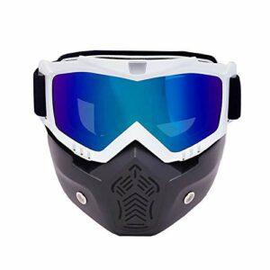 Lunettes De Ski Motoneige Sport De Plein Air Ski sur Neige Snowboard Lunettes De Motocross Lunettes De Protection avec Masque Amovible Bouche Filtre Coloré