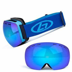 Lunettes de ski PRO, lunettes de ski for planche à neige, for les femmes Hommes Femmes Jeune adolescent OTG Plus casque compatible, Interchangeable Lens, Anti-buée 100% UV400 Protection, Anti-éblouiss
