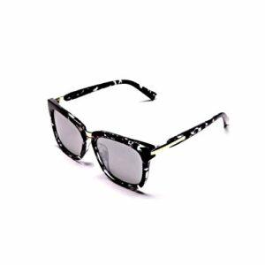 Lunettes de soleil surdimensionnées Cateye – Pour femme – Forme rectangulaire – Polarisées – Protection UV400 – Argenté – Monture noire