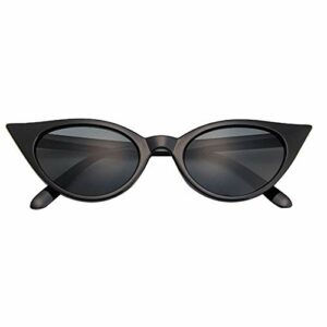 Lunettes de soleil tendance pour femme – Style classique et vintage – Style rockabilly – – Noir et gris,