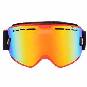 Lunettes d'escalade enduites sous Vide Lentille PC Anti-poussière pour Le Ski(Red Frame)