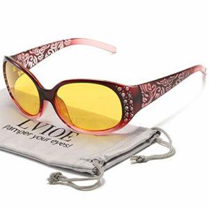 LVIOE Lunettes de conduite de nuit avec verres jaunes polarisés et anti-reflets pour femmes Lunettes de vision nocturne Protection UV de 100%