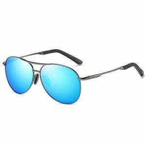 LYY sur-Le-Compteur Lunettes de Soleil Conduite de Conduite pour Hommes Vélo Protection des Yeux Verses polarisées Vision Claire Noir et Bleu Lunettes légères (Color : Blue)