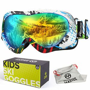 OutdoorMaster Masque de Ski pour Enfants Lunettes Compatibles avec Un Casque pour Garçons et Filles avec Une Protection UV à 100% (Color Pattern Frame + VLT 13% Grey Lens with Full REVO Gold)