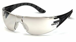 Pyramex Safety Endeavour Plus Durable Lunettes de sécurité, SBG9680S, Black/Gray Frame, Indoor/Outdoor Mirror Lens
