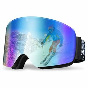 REDSTORM Masque Ski en Version 2021, Masque de Ski OTG, Design Panoramique à 180°, Lunette Ski Anti-UV et Antibrouillard pour Ski, Scalade, Cyclisme, Sports de mer