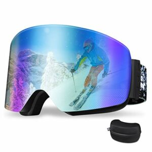 REDSTORM Masque Ski en Version 2021, Masque de Ski OTG, Design Panoramique à 180°, Lunette Ski Anti-UV et Antibrouillard pour Ski, Scalade, Cyclisme, Sports de mer, Vert