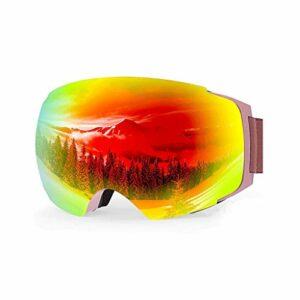 RWX Lunettes De Ski Anti-Brouillard À Double Couche, Coupe-Vent De Gros Lunettes Sphériques, pour Hommes Et Femmes Lunettes De Ski Anti-rayonnement (Color : Gold Plated)