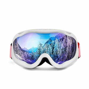 RWX Lunettes De Ski Anti-butée Double-Couche HD, Hommes Et Femmes Alpinisme Goggles De Vent Et De Neige, Une Variété D'options (Color : White Frame+Purple Film)
