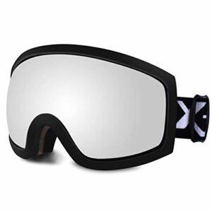 SGTTX Lunettes de ski OTG de ski durable double couche lentille de snowboard lunettes de protection anti-buée UV400 pour hommes femmes jeunes adultes