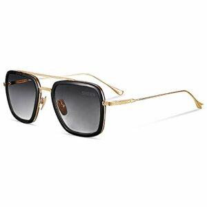 SHEEN KELLY Rétro square lunettes de soleil cadre métallique pour hommes et femmes lunettes de soleil downey iron man Tony Stark gradient lens