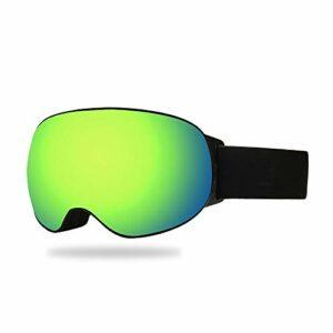 SWNN Puzzles TPU Cadre Vert Masque De Ski Double Anti-Brouillard Grandes Lentilles Sphériques Cocker Myopie Cadeaux for Les Femmes Hommes D'extérieur Escalade d'hiver Équipement Sportif