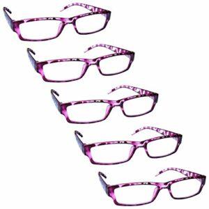 The Reading Glasses Lunettes de Lecture Rose Écaille Valeur Set de 5 Léger Hommes Femmes RRRRR32-4 +3,00