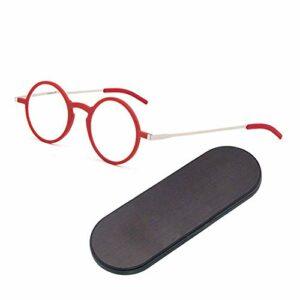 ZZAI Lunettes de lecture Anti-Blu-ray HD Ultra-mince portable portables hommes et femmes rondes cadre de lunettes de presbytie -6 dioptries Red- + 3.0 (Couleur : Red, Size : +3.0)