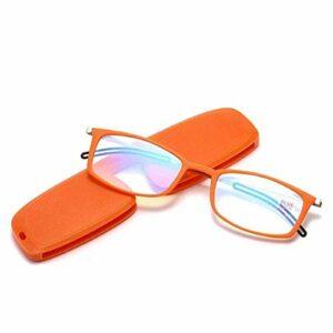 ZZAI Lunettes de lecture Nouvelle lumière ultra-mince anti-bleue haute définition portable anti-fatigue hommes et femmes Presbyopia lunettes -6 dioptries orange- + 1.0